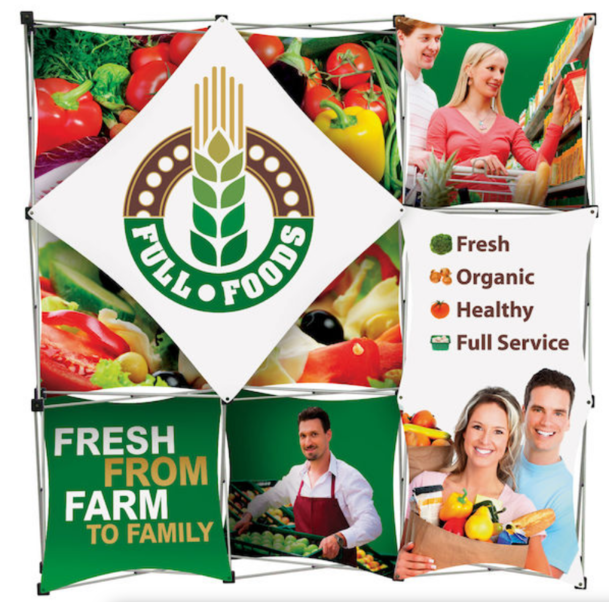 full foods graphics printed on large banner